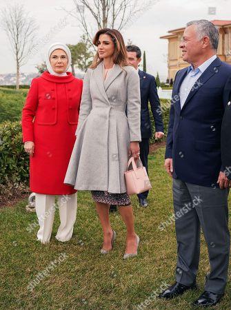 Queen Rania and Recep Tayyip Erdogan and First Lady Emine Gulbaran in Istanbul