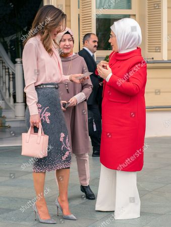 Queen Rania and First Lady Emine Gulbaran in Istanbul