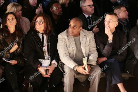 Stock Picture of Fern Mallis, Jeffrey Banks, and Steven Kolb in the front row
