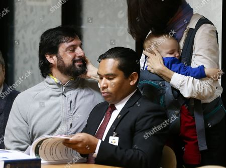 US Paul Ceglia (L) attends a hearing in Quito, Ecuador, 04 February 2019. The National Court of Justice (CNJ) of Ecuador is analyzing an appeal against the extradition of Paul Ceglia, who came to claim the ownership of half of Facebook and faces a trial in the United States for alleged fraud. Ceglia's lawyers had requested the hearing after the president of the Court, Paulina Aguirre, approved his extradition on 15 November. Paul Ceglia, a 45-year-old US citizen web designer, fled a trial in 2015 for alleged fraud and extortion of Facebook founder Mark Zuckerberg, as he demanded half of the technology company for allegedly collaborating in its development.