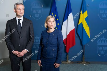 French Finance and Economy Minister Bruno Le Maire (L) and his Swedish counterpart Magdalena Andersson (R), speak to the media after a meeting in Stockholm, Sweden, 04 February 2019.
