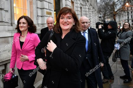 (L-R) Conservative MP's Theresa Villiers, Damian Green Nicky Morgan and Iain Duncan Smith leave the Cabinet Office on Whitehall in London, Britain, 04 February 2019. Britain's Prime Minister Theresa May invited hardline eurosceptics and Remain supporters within her Conservative Party to come up with possible alternatives to the contentious 'backstop' provision to keep the Irish border free-flowing.