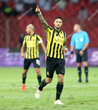 Al-Ittihad player Manuel Marouan Da Costa celebrates after scoring a goal during the Saudi Professional League soccer match between Al-Wehda and Al-Ittihad at King Abdulaziz Sport City, Mecca, Saudi Arabia, 04 February 2019