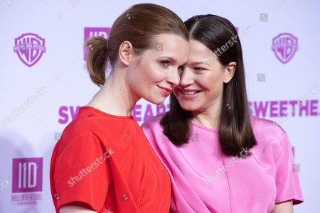 "Karoline Herfurth (L) and Hannah Herzsprung pose at the red carpet during the world premiere of the movie ""Sweethearts"" at the Zoo Palast in Berlin, Germany, 04 February 2019. The German film will be released on 14 February."