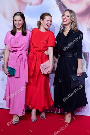 "Stock Image of Hannah Herzsprung, Karoline Herfurth and Anneke Kim Sarnau pose at the red carpet during the world premiere of the movie ""Sweethearts"" at the Zoo Palast in Berlin, Germany, 04 February 2019. The German film will be released on 14 February."