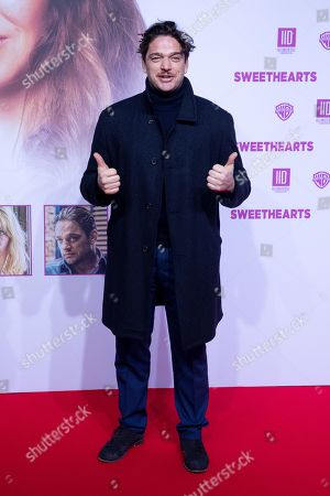 """Stock Image of Ronald Zehrfeld poses at the red carpet during the world premiere of the movie """"Sweethearts"""" at the Zoo Palast in Berlin, Germany, 04 February 2019. The German film will be released on 14 February."""