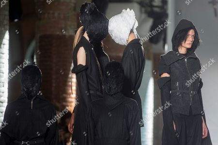 Models display the creations by Spanish designer Txell Miras during a fashion show held in the opening day of 080 Barcelona Fashion event at Sant Pau center in Barcelona, northeastern Spain, 05 February 2019. The 080 fashion event runs from 04 to 07 February.