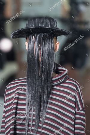 A model displays a creation by Spanish designer Txell Miras during a fashion show held in the opening day of 080 Barcelona Fashion event at Sant Pau center in Barcelona, northeastern Spain, 05 February 2019. The 080 fashion event runs from 04 to 07 February.