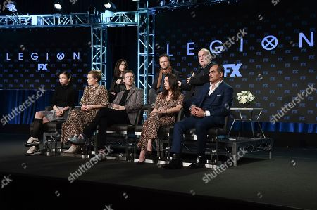 "Lauren Tsai, Rachel Keller, Dan Stevens, Aubrey Plaza, Navid Negahban, Lauren Shuler-Donner, Noah Hawley, Jeph Loeb. Lauren Tsai, from front row left, Rachel Keller, Dan Stevens, Aubrey Plaza, Navid Negahban, Lauren Shuler-Donner, and from back row left, Noah Hawley, and Jeph Loeb participate in the ""Legion"" panel during FX TCA Winter Press Tour, in Pasadena, Calif"