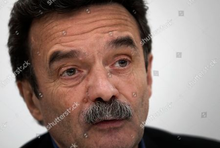 Stock Picture of French journalist, writer and co-founder of the online newspaper Mediapart Edwy Plenel gives a press conference at his office in Paris