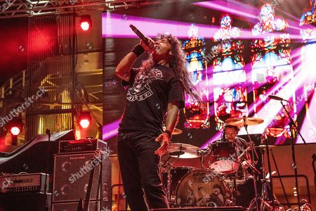 Joey Belladonna performs with The Stowaways on board the Carnival Valor during day 3 of the ShipRocked cruise on
