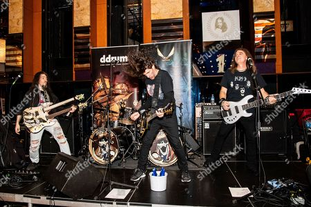 Stock Picture of Ron Thal, Frank Bello, David Ellefson. Ron Thal, from left, Frank Bello and David Ellefson perform on board the Carnival Valor during day 3 of the ShipRocked cruise on