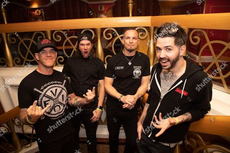 Tanner Keegan, Eric Friedman, Mark Tremonti, Ryan Bennett. Tanner Keegan, from left, Eric Friedman, Mark Tremonti, and Ryan Bennett of Tremonti pose on board the Carnival Valor during day 5 of the ShipRocked cruise on