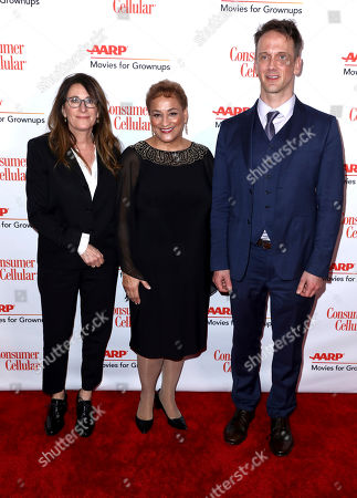 Nicole Holofcener, Jo Ann Jenkins, Jeff Whitty. Nicole Holofcener, from left, AARP CEO Jo Ann Jenkins and Jeff Whitty attend AARP The Magazine's 18th Annual Movies For Grownups Awards at Beverly Wilshire Hotel, in Beverly Hills, Calif