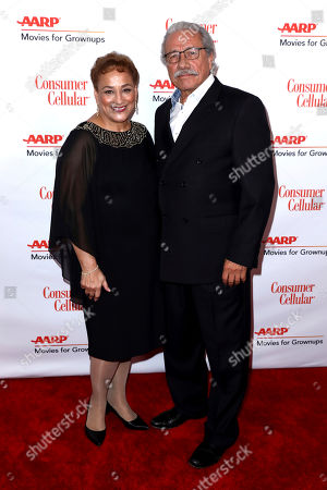 Jo Ann Jenkins, Edward James Olmos. AARP CEO Jo Ann Jenkins, left, and Edward James Olmos attend AARP The Magazine's 18th Annual Movies For Grownups Awards at Beverly Wilshire Hotel, in Beverly Hills, Calif