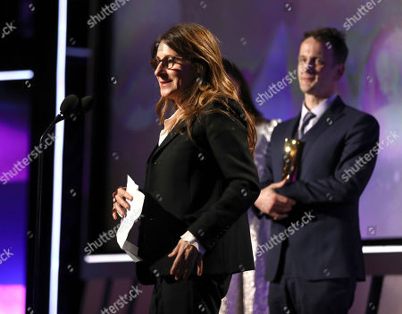 """Nicole Holofcener accepts the award for best screenwriter for """"Can You Ever Forgive Me?"""" at AARP The Magazine's 18th Annual Movies For Grownups Awards at Beverly Wilshire Hotel, in Beverly Hills, Calif"""