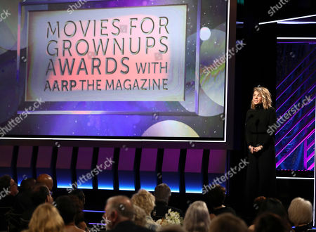Elizabeth Chomko speaks at AARP The Magazine's 18th Annual Movies For Grownups Awards at Beverly Wilshire Hotel, in Beverly Hills, Calif