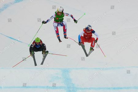 Kelsey Serwa Fanny Smith Alizee Baron. Kelsey Serwa, left, of Canada, Alizee Baron, center, of France and Fanny Smith, right, of Switzerland compete in the women's ski cross event at the freestyle ski and snowboard world championships, in Solitude, Utah