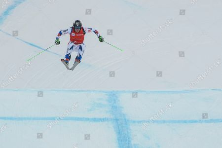 Jean Frederic Chapuis of France competes in the men's ski cross event at the freestyle ski and snowboard world championships, in Solitude, Utah