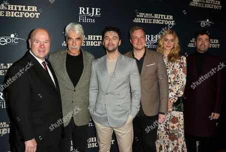 "Larry Miller, Sam Elliott, Aidan Turner, Robert D. Krzykowski, Caitlin FitzGerald, Ron Livingston. Larry Miller, from left, Sam Elliott, Aidan Turner, Robert D. Krzykowski, Caitlin FitzGerald and Ron Livingston arrive at the LA Premiere of ""The Man Who Killed Hitler and Then The Bigfoot"" at the ArcLight Hollywood, in Los Angeles"