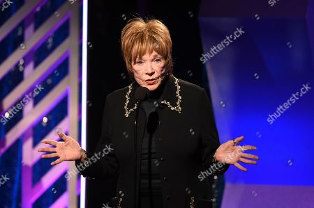 Stock Image of Shirley MacLaine accepts the Career Achievement award during the 18th Annual Movies For Grownups Awards at Beverly Wilshire Hotel, in Beverly Hills, Calif