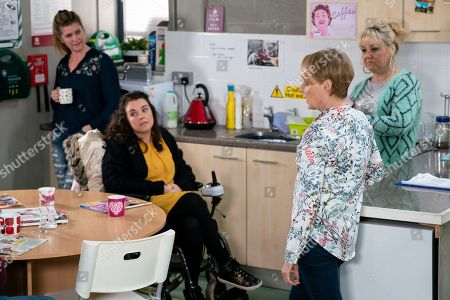 Ep 9698 Wednesday 20th February 2019 - 1st Ep When Sean suggests a night out on the town, the factory girls are all for it. Sally Metcalfe, as played by Sally Dynevor, agrees to go on one condition, that Gina Seddon, as played by Connie Hyde, won't be there. Gina slinks back to her machine, stung. With Faye Windass, as played by Ellie Leach ; Beth Sutherland, as played by Lisa George.