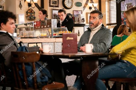 Stock Picture of Ep 9692 Wednesday 13th February 2019 - 1st Ep Simon Barlow, as played by Alex Bain, is furious that Peter Barlow, as played by Chris Gascoyne, is taking Abi sailing, causing Peter to say he can come instead as Abi means nothing to him. Seb Franklin, as played by Harry Visinoni, overhears this will he tell Abi?