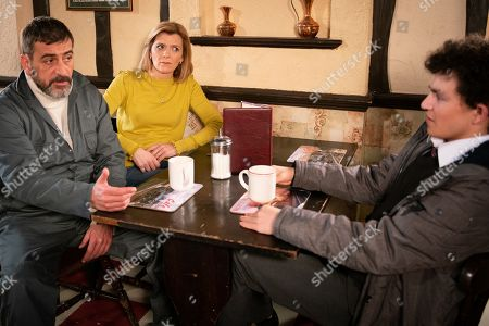 Stock Photo of Ep 9692 Wednesday 13th February 2019 - 1st Ep Simon Barlow, as played by Alex Bain, is furious that Peter Barlow, as played by Chris Gascoyne, is taking Abi sailing, causing Peter to say he can come instead as Abi means nothing to him. Seb Franklin overhears this will he tell Abi? With Leanne Battersby, as played by Jane Danson.