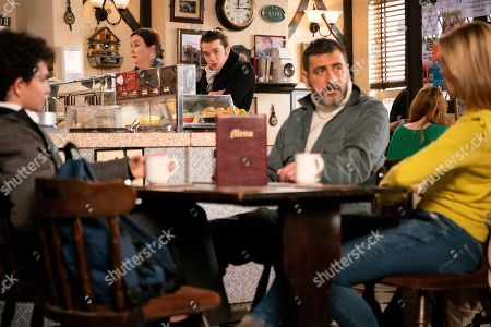 Ep 9692 Wednesday 13th February 2019 - 1st Ep Simon Barlow, as played by Alex Bain, is furious that Peter Barlow, as played by Chris Gascoyne, is taking Abi sailing, causing Peter to say he can come instead as Abi means nothing to him. Seb Franklin, as played by Harry Visinoni, overhears this will he tell Abi? With Leanne Battersby, as played by Jane Danson.
