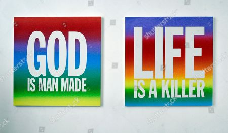 Artwork by John Giorno, God is Man Made, 2015, at the exhibition 'You got to burn to shine'.
