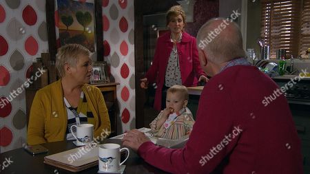 Stock Picture of Ep 8390 Monday 11th February 2019 Doug Potts, as played by Duncan Preston, is finding it hard to have romantic time alone with Brenda Hope, as played by Lesley Dunlop. Laurel Thomas', as played by Charlotte Bellamy, reliance on him is proving to be the main issue. As much as he loves his daughter, he is finding it hard to share his time and Brenda's nose is soon put out.