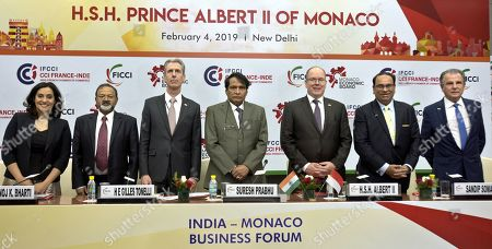 Stock Picture of Union Commerce and Industry Minister Suresh Prabhu and King Albert II with other delegates
