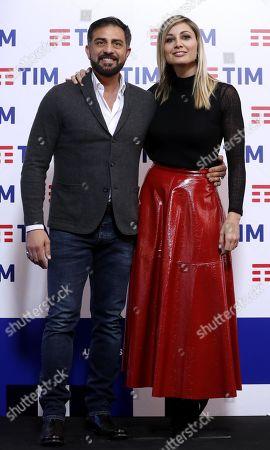 Anna Ferzetti (R) and TV presenter Simone Montedoro pose before the press conference of the 69th Sanremo Italian Song Festival, in Sanremo, Italy, 05 February 2019. The Festival runs from 05 to 09 February.