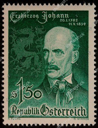 Archduke John of Austria, a member of the House of Habsburg-Lorraine, was an Austrian field marshal, portrait on an Austrian stamp, Austria
