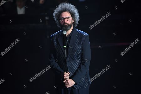 The singer Simone Cristicchi during the performance