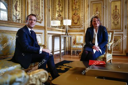 Emmanuel Macron, Valerie Rabault, presidente du groupe Socialiste a l'Assemblee