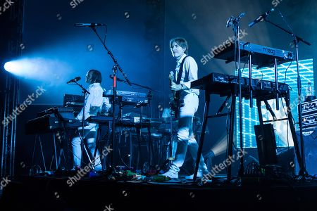 The French synth-pop band Air with guitarist Nicolas Godin and keyboarder Jean-Benoit Dunckel live at the Blue Balls Festival in Lucerne, Switzerland
