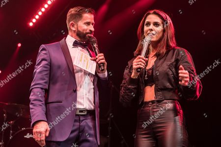 Swiss pop singer and presenter Leonard and German pop singer Vanessa Mai live at Schlager Nacht, Lucerne, Switzerland