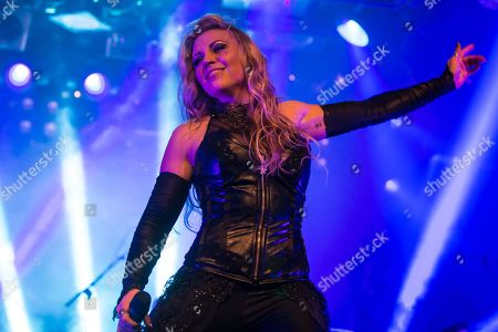 Singer Kobra Paige from the American melodic power metal band Kamelot live in the Schueuer Lucerne, Switzerland