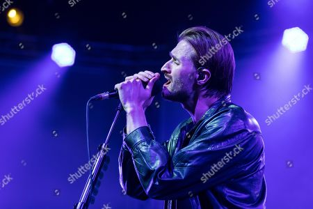 Stock Photo of The British band Wild Beasts with singer Hayden Thorpe live at the 25th Blue Balls Festival in Lucerne, Switzerland Hayden Thorpe, vocals Ben Little, guitar Tom Fleming, bass Chris Talbot, drums