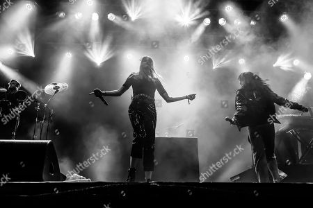 The Swedish electropop duo Icona Pop with singers Aino Jawo and Caroline Hjelt, live at the 27th Heitere Open Air in Zofingen, Aargau, Switzerland