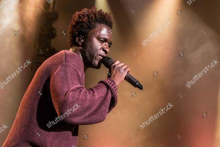 Stock Image of The British soul singer Kwabs live at the Blue Balls Festival Lucerne, Switzerland