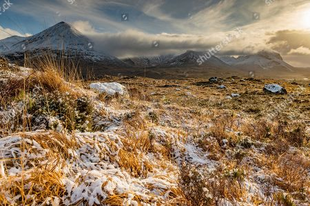 Snowy mountain tops of Ben Lee with clouds in Highland landscape, Sligachan, Portree, Isle of Sky, Scotland, United Kingdom