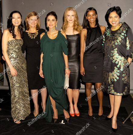 Wendy Murdoch, Sarah Brown, Queen Rania Al Abdullah of Jordon wearing Rami Kashou, Nicole Kidman, Liya Kebede and Indra Nooyi
