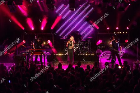 Stock Picture of The German electro-pop and singer-songwriter band Glasperlenspiel with singer Carolin Niemczyk and keyboarder Daniel Grunenberg live at a single Swiss concert in the sold out Kofmehl in Solothurn, Switzerland
