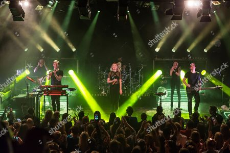 Stock Image of The German electro-pop and singer-songwriter band Glasperlenspiel with singer Carolin Niemczyk and keyboarder Daniel Grunenberg live at a single Swiss concert in the sold out Kofmehl in Solothurn, Switzerland
