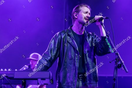 Stock Image of The British band Wild Beasts with singer Hayden Thorpe live at the 25th Blue Balls Festival in Lucerne, Switzerland Hayden Thorpe, vocals Ben Little, guitar Tom Fleming, bass Chris Talbot, drums