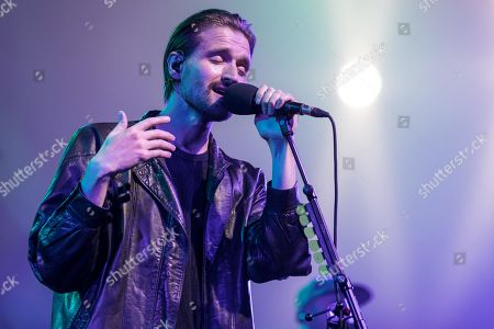 Stock Picture of The British band Wild Beasts with singer Hayden Thorpe live at the 25th Blue Balls Festival in Lucerne, Switzerland Hayden Thorpe, vocals Ben Little, guitar Tom Fleming, bass Chris Talbot, drums