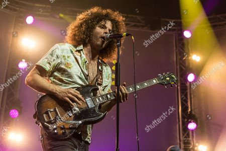 Stock Photo of The Australian Rockbaand Wolfmother live at the 26th Blue Balls Festival in Lucerne, Switzerland Andrew Stockdale, vocals and guitar Ian Peres, bass Hamish Rosser, drums