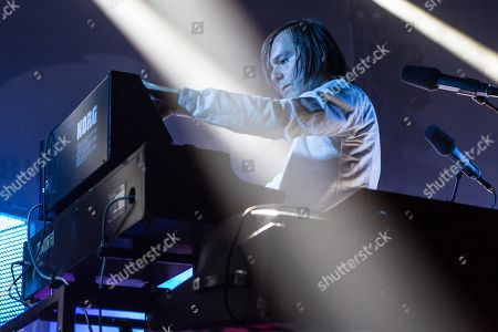Stock Photo of The French synth-pop band Air with guitarist Nicolas Godin and keyboarder Jean-Benoit Dunckel live at the Blue Balls Festival in Lucerne, Switzerland